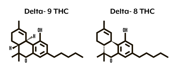 delta-9 and delta-8 THC chemical structures